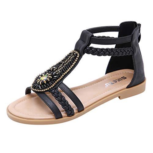 Vovotrade dames sandalen platte zomerschoenen PU leder Bohemia platte sandalen teenslippers zwart, blauw, kaki 35-42