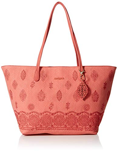 Desigual Paola Capri Zipper Shoulder Bag Rosa Plateado