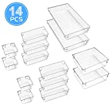 Omew Desk Drawer Organiser Trays, 14 Pcs Clear Drawer Organiser Dividers 4-Size Versatile Storage Boxes <span class='highlight'>Makeup</span> Organizers for Bedroom <span class='highlight'>Dresser</span> Bathroom Kitchen Office