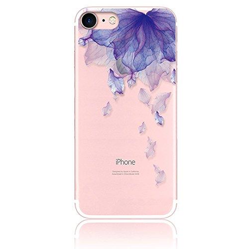 CrazyLemon Hülle für iPhone 8, Hülle für iPhone 7, Silikon Dünn Case Transparent Weich Cover Ultra Slim TPU Schlank Bumper Handyhülle Soft für iPhone 8 iPhone 7 4.7 Zoll - Lila Blume