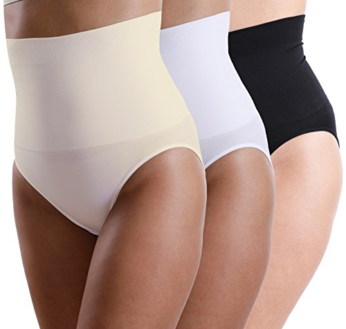 3er Pack Yenita® Damen Miederslip mit Bauchweg-Effekt, Figurformender Slip, Large, schwarz/weiss/haut
