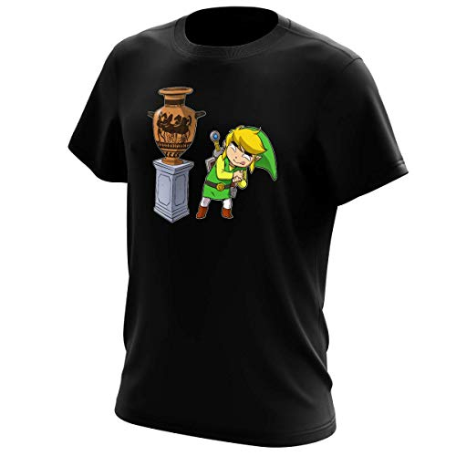 T-Shirt Jeux Vidéo - Parodie de Link de la Légende de Zelda - Petite visite au musée... - T-shirt Homme Noir - Haute Qualité (826) - XX-Small