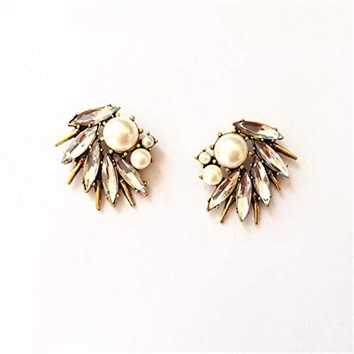 GSZP XF - 1 par de pendientes de perlas blancas irregulares con punta de bronce envejecido, joyería de moda para mujer (color: dorado y blanco)