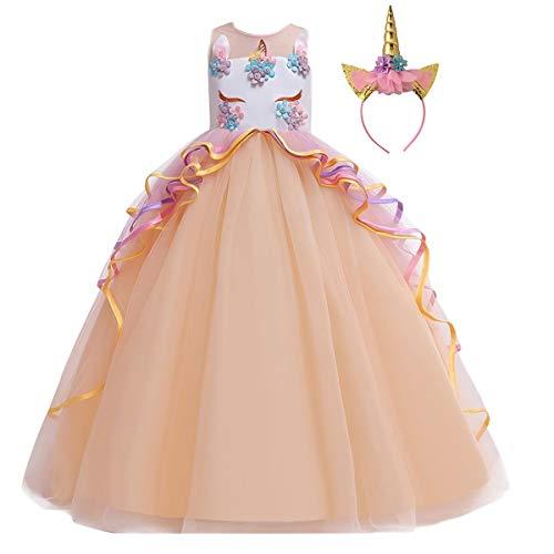 CinheyU Niñas Disfraz de Carnaval Sin Mangas Vestido de Unicornio Princesa Cumpleaños Boda Fiesta de Cosplay para Chicas Navidad Bautizo Comunión Flor Vestidos de Baile con Diadema