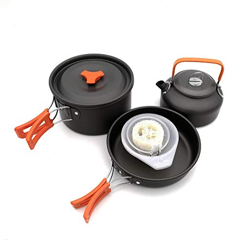 Camping Cookware Set Lightweight Aluminium Cooking Equipment Portable Camping Cookware Pots Pans Kettle Bowls Spatula Mess Kit Outdoor Backpacking Collapsible Cookset With Mesh Bag Camping Cookware Se