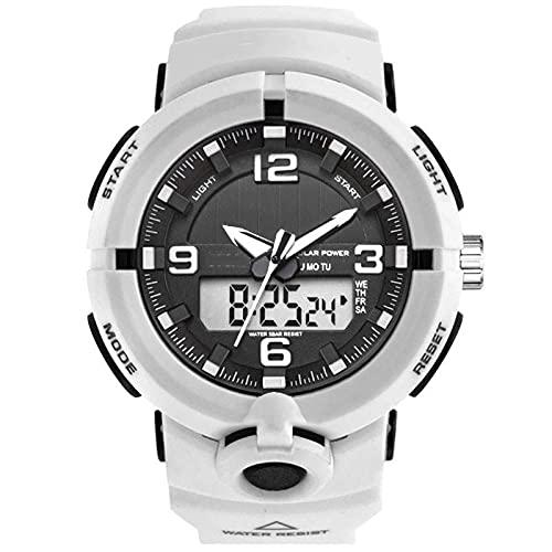 Mire los Deportes solares de los Hombres Impermeables Luminosos Luminosos visualización Digital Reloj de Moda para Hombres y Mujeres, Relojes Deportivos Juveniles, r White