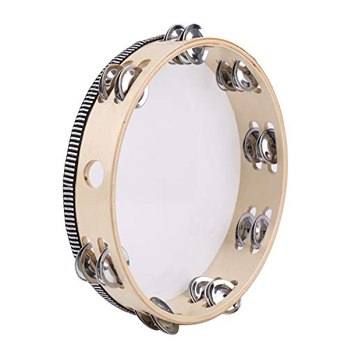 Tosnail 10 Inches Handheld Wooden Tambourine - Double Rows 16 Pairs Jingles