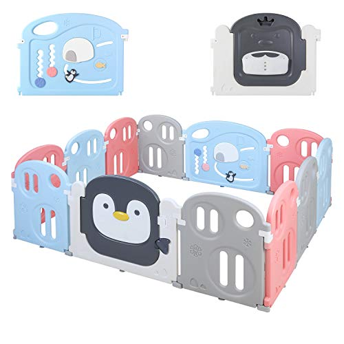 """LAZY BUDDY 70"""" x 59"""" Baby Playpen, Kids Activity Center Play Yard, Penguin Pattern with Game Gate & Double Lock Door Gate & Storage Pocket, Fun Time Home Indoor Outdoor Fence for Toddler Boys Girls"""