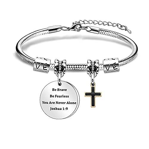 Pulsera inspiradora para mujer cristiana Be Brave Be Fearless You are Never Alone Joshua 1:9 Motivación versículo de la Biblia Pulsera Cruz Regalo Religioso