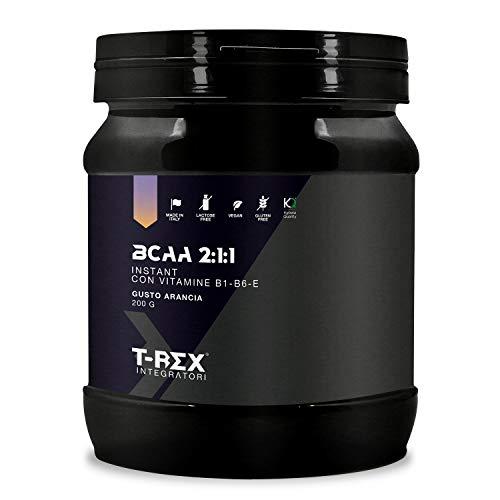 BCAA 2:1:1 in Polvere KYOWA QUALITY Gusto ARANCIO Ottenuti da Fermentazione - Integratore di Aminoacidi Ramificati in rapporto 2 1 1 con Vitamine B1-B6-E. T-Rex Integratori