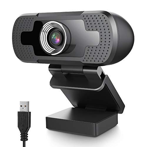 EIVOTOR Webcam 1080P, HD Cámara Webcam Mini Portátil PC con Micrófono Integrado Enfoque y Reproducción Automática para Compatible con Windows 7/8/10 / Vista 64bit