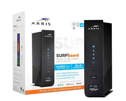 ARRIS SURFboard SBG7600AC2 DOCSIS 3.0 Cable Modem & AC2350 Dual-Band Wi-Fi Router, Approved for Cox, Spectrum, Xfinity & others (black)