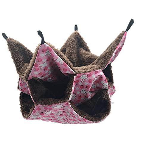 HUBLEVEL Hamaca para HáMster Bolsa de Miel Ardilla Voladora Hamaca CáLida de Tres Capas Saco de Dormir de Ardilla Colgante Rosa