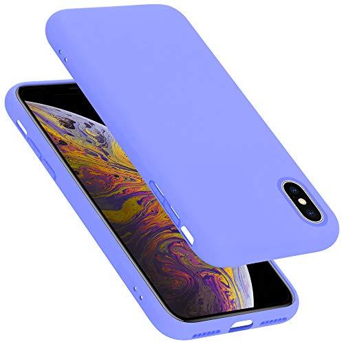 Cadorabo Custodia per Apple iPhone X/XS in Liquid Lila Chiaro - Morbida Cover Protettiva Sottile di Silicone TPU con Bordo Protezione - Ultra Slim Case Antiurto Gel Back Bumper Guscio