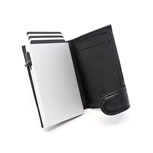 STEALTH WALLET Portatarjetas RFID Minimalista - Carteras de Tarjetas de Crédito de Metal Delgado y Ligero con Bloque NFC (Aluminio Plateado con Cuero Negro y Bolsillo para Monedas)