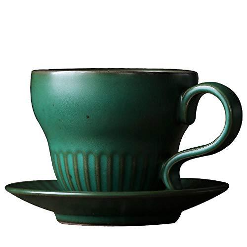 Copa de té de cerámica retro de estilo retro japonés Taza de cerámica gruesa Copa chástica con taza de té de disco Taza de leche