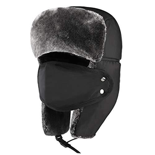 Anazalea Unisex Winter Hat, Trooper Hat Hunting Hat for Men and Women Ushanka Ear Flap Chin Strap and Windproof Mask ... (Classic Black)