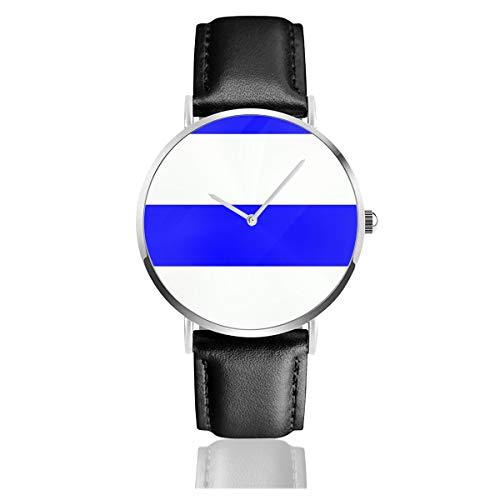 Bandera de Uruguay Correa de Cuero Reloj de Pulsera Casual clásico Acero Inoxidable Cuarzo Negocios Reloj
