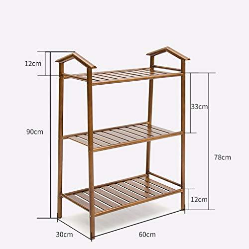 NYDZDM 2 étagères 3 étagères en Bambou Naturel Porte-étagère Support Armoire de Rangement Organisateur unité étagères d'armoire, Brun (Size : 3 Tier)