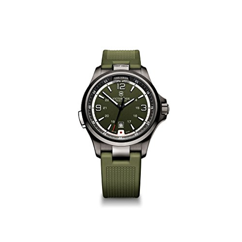 Victorinox Men's 241595 'Night Vision' Stainless Steel Watch with Green Rubber Band