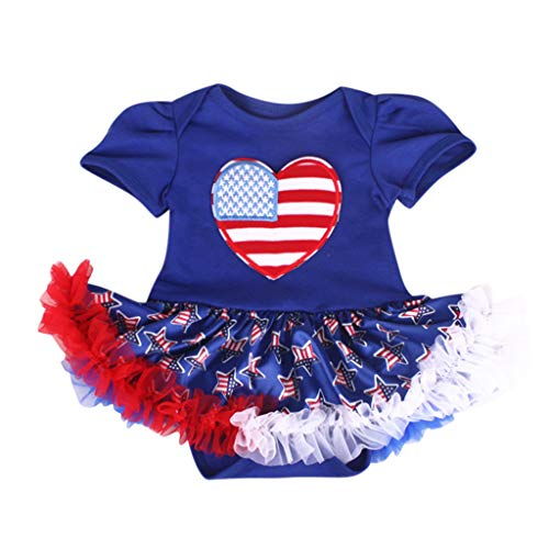 SSZZoo Newborn Baby Girls 4th of July Outfits Stars Striped Romper Tulle Dress Festive Sets (Blue, 3-6 Months)