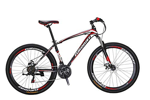 Eurobike Cool Mountain Bike, 27.5 Inch, 21 Speed Black-Red Spoked Wheel