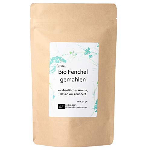Suna® Bio Fenchel gemahlen | mild-süßliches Aroma, das an Anis erinnert | Großpackung 500 g