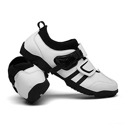 JQKA Calzado De Ciclismo Calzado De Ciclismo Sin Bloqueo Calzado Casual Unisex Buena Transpirabilidad Zapatillas De Bicicleta con Fondo Resistente Al Desgaste(Size:40,Color:Blanco)