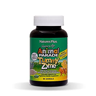 NaturesPlus Animal Parade Tummy Zyme Children's Chewable Digestive Aid - Tropical Fruit Flavour - 90 Animal Shaped Tablets - Contains Live Acidophilus - Vegetarian, Gluten Free - 90 Servings