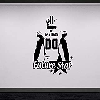 Wall Stickers, Wall Decals, Wall Posters, Wall Paintings, Wall Tattoos, Wall Art Stickers,Future Star Football Custom Jersey Name Number VinylKids Rooms Personalized 42x61CM