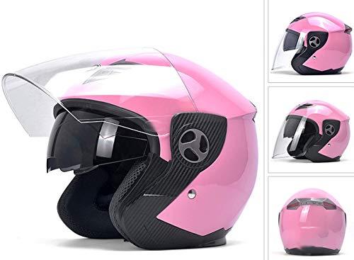 YINUO-Casque Batterie électrique moto casque hommes et femmes quatre saisons portable demi casque universel casque d'hiver chaud (Color : PINK)