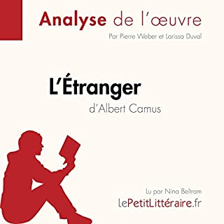 L'Étranger d'Albert Camus                   Auteur(s):                                                                                                                                 Pierre Weber,                                                                                        Larissa Duval                               Narrateur(s):                                                                                                                                 Nina Beltram                      Durée: 31 min     Pas de évaluations     Au global 0,0