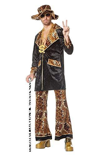 shoperama Pimp King Herren-Kostüm Lude Zuhälter Stenz Gauner Bad Taste Assi Proll Anzug, Größe:48