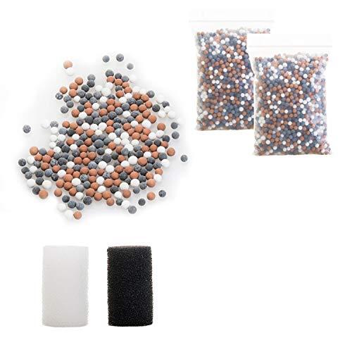 Wemk 2 Packungen Mineralperlen für Duschkopf (Filterperlen mit 2,5 mm Durchmesser), und 2 Ersatzfilterschwämmen