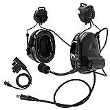 TAC-SKY C2ヘルメットバージョンタクティカルヘッドセット、レールアダプターとU94 kenwood PTT附属 (ブラック)