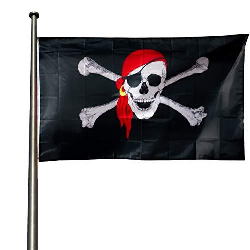 KliKil Piraten-Flagge, widerstandsfähig, für den Außenbereich, 90 x 150 cm, 1 Piratenflagge, resistente Farben, schottische Flagge, verstärkt