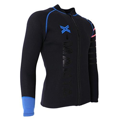 IPOTCH Herren Damen 3mm Neoprenanzug Jacke UV Schutz Wetsuit Badeanzug Badebekleidung Wassersport Anzug Oberteile - Schwarz, XL
