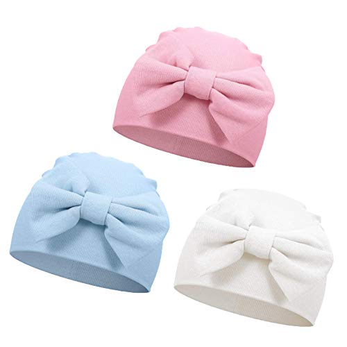 Sombrero de hospital recién nacido, 3 piezas, para bebé niña, sombrero recién nacido, sombrero con lazo y mariposa, para 0-6 meses Pink+Blue+White Talla única