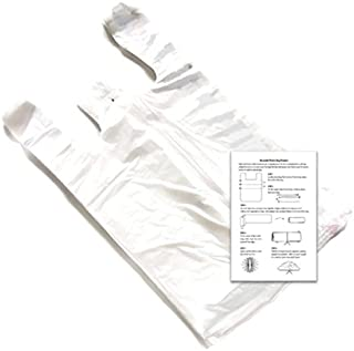 Clear 12x7x22 Standard T-shirt Bags (100 Pack) with Crafting Insert - Reusable Retail Shopping Bags