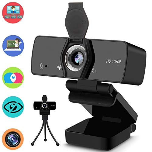 Webcam with Microphone, 1080P HD Streaming Web Camera for Desktop Computer Laptop, PC USB Camera Wide Angle 110-Degree with Privacy Cover Tripod Mic for Study, Video Calling, Conference, Gaming
