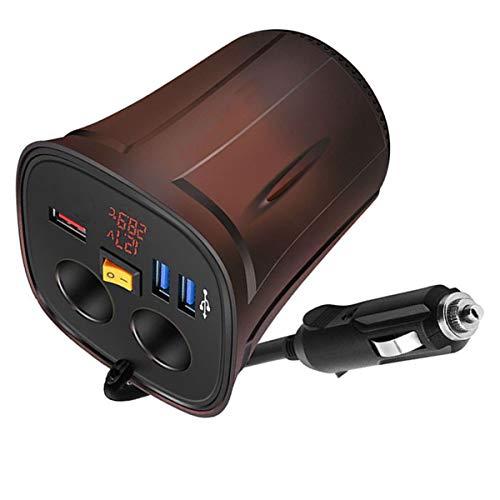 NCONCO 120 W coche encendedor divisor USB cargador de coche con voltímetro termómetro encendido/apagado interruptor para 12 V/24 V vehículos