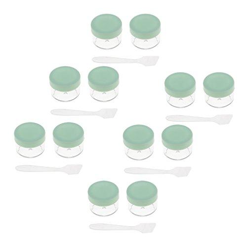 Sharplace 12 Pcs 15g Pot Vide Cosmétiques, Petit Contenant en Plastique Jar à Échantillon Avec Mini Spatule Pour Crème et Stockage de Maquillage - vert, comme décrit
