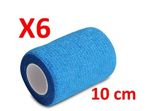 BENDAGGIO COESIVO - BLU garza elastica, 6 rotoli x 10 cm x 4.5 m autoadesiva flessibile bende, qualità professionale, primo soccorso - Sports Wrap Cohesive Bandage - Confezione da 6