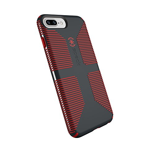 Speck CandyShell Grip iPhone 8 Plus Hülle/iPhone 7 Plus/iPhone 6S Plus/iPhone 6 Plus Hülle, anthrazit/Dunkles Mohnblumenrot