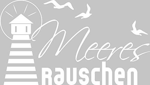 GRAZDesign Wandbild WC Bad verschönern Leuchtturm Möwe Meer - Badezimmer Tattoos Aufkleber für Nassbereich - Wandtattoo Bad Meeresrauschen / 52x30cm / 650233_30_010