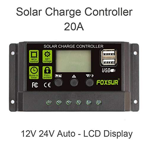 LouiseEvel215 20A Controladores de Carga Solar automáticos Controladores PWM LCD Dual USB 5V Salida Panel Solar Regulador FV