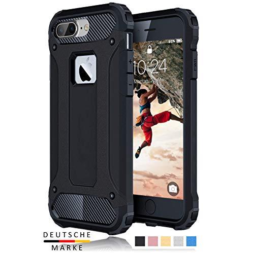 BYONDCASE iPhone 8 Plus Hülle Schwarz, iPhone 7 Plus Hülle [Handyhülle iPhone 8 Plus Panzer Outdoor Case] iPhone 7 Plus Handyhülle Hardcase Ultra Slim kompatibel mit dem iPhone 7 & 8 Plus