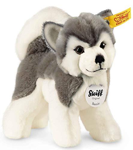 Steiff Bernie Husky - 17 cm - Plüschhund stehend - Hunde Kuscheltier für Kinder - weich & waschbar - grau / weiß (104985)