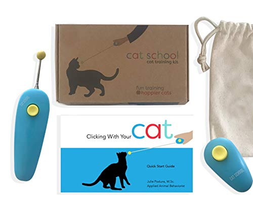 CAT SCHOOL Clicker Training Kit for Cats – Clicker Training Tools with Fun and Easy Step-by-Step Lessons. Teach Your Cat to Fist Bump!