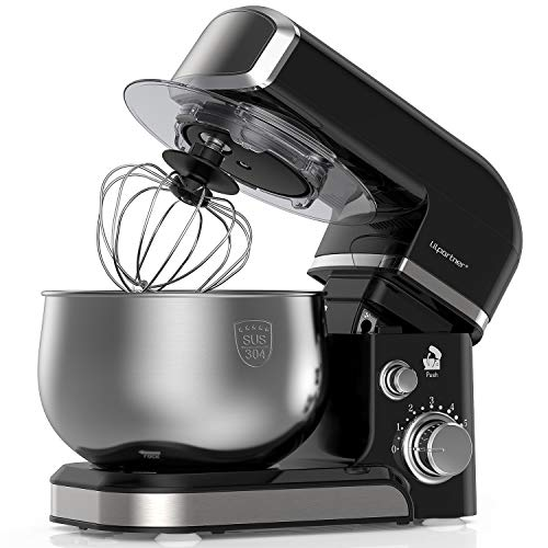 Lilpartner Stand Mixer, 1000W Professional Electric Kitchen Mixer Food Mixer, 6-Speed Tilt-Head Dough Mixer with 3.7-Qt Stainless Steel Bowl, Mixing Beater, Whisk, Dough Hook, Scraper &Splash Guard